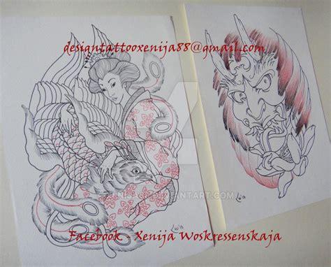 hannya mask and geisha tattoo tattoo design geisha andphoenix and hannya mask by