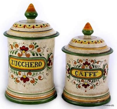 Canister Set 2 majolica canister set 2 pieces zucchero caffe