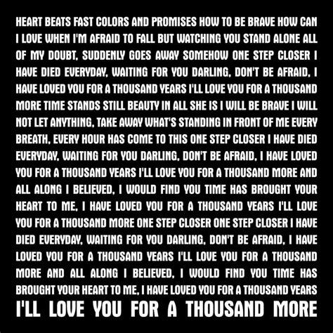 printable lyrics thousand years christina perri song lyrics artthousand years christina perri canvas print