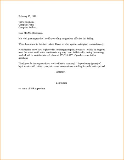 Best Two Weeks Resignation Letter 9 2 Week Resignation Letter Basic Appication Letter