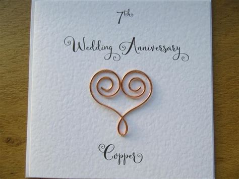 7th anniversary card copper 7 wedding anniversary card   Etsy