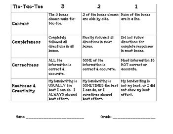 sle of to toe assessment tic tac toe scoring rubric by learning laughing leading tpt