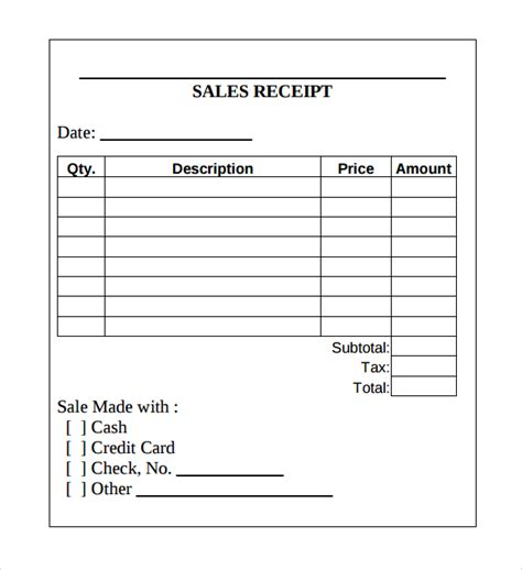 18 sales receipt template for free sle templates