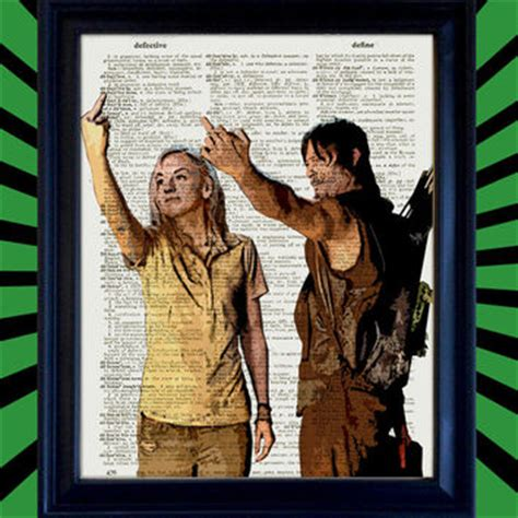 Poster The Walking Dead 10 Fja41 Kayu Vintage Asli Dinding Rumah Kafe daryl dixon and beth greene middle finger from juxtified