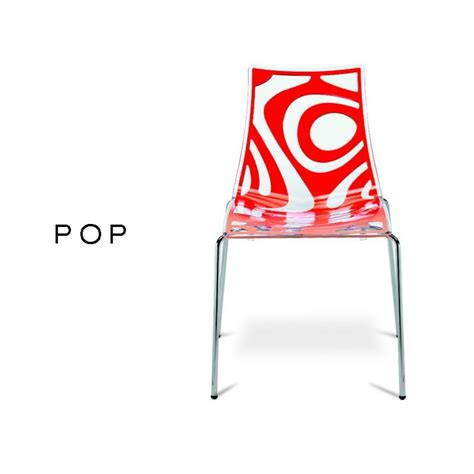 chaise plastique design pop assise transparente avec motif