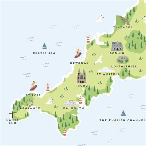 cornwall map map of cornwall print by pepper pot studios