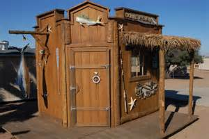 rustic fishing shed decorating a storage shed