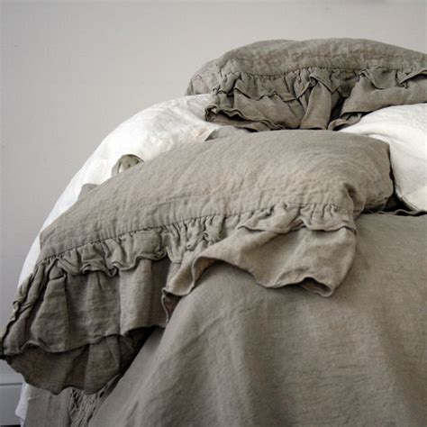 Linen Covers by Linen Duvet Cover Rustic Style Ruffled Duvet Cover And