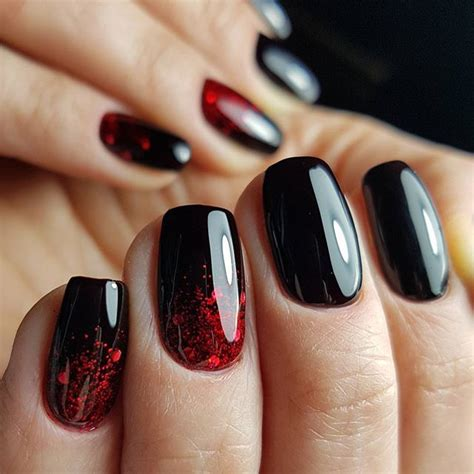 red black nails ideas  pinterest halloween