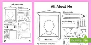 all about all about me worksheet activity sheet all about me