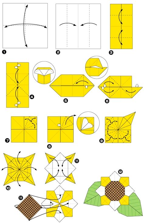 Origami Sunflower Step By Step - origami of sunflower