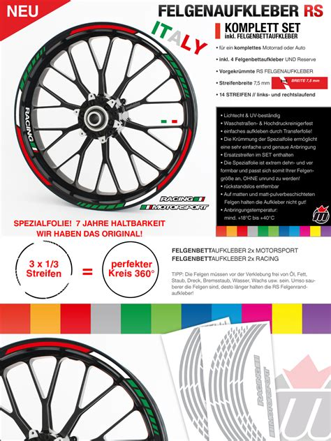 Ebay Italien Motorrad by Felgenrandaufkleber Gp Tricolore Italien Italy Motorrad