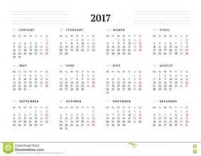 Simple Calendar Template by Simple Calendar Template For 2017 Year Stock Vector