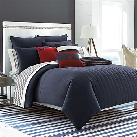 nautica navy blue comforter nautica 174 mainsail reversible comforter set in navy bed