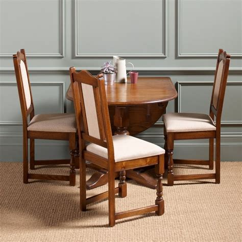 Antique Drop Leaf Dining Table For Small Dining Room Spaces And 3 Wood Dining Chairs With White