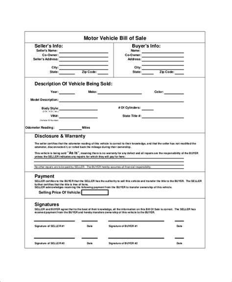 blank vehicle bill of sale texas sle blank bill of sale boat bill of sale template