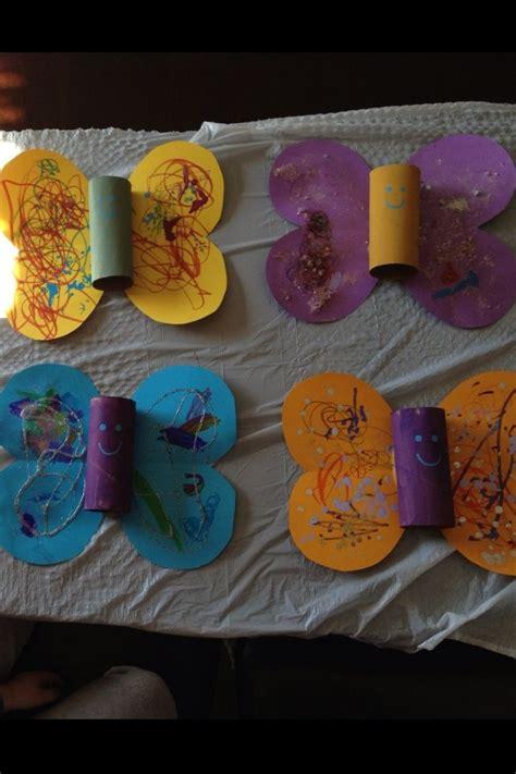 Construction Paper Butterfly Craft - toilet paper roll butterfly garden ideas