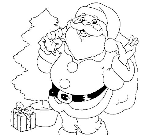 Colored Page Santa Claus And A Christmas Tree Painted By Lea Santa Claus And Tree Coloring Pages