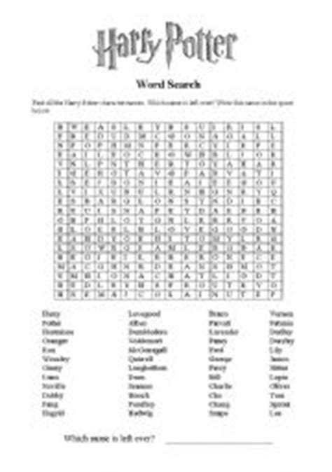 printable word search harry potter english worksheet harry potter word search 2