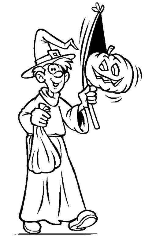 Halloween Colorings Trick Or Treat Coloring Pages