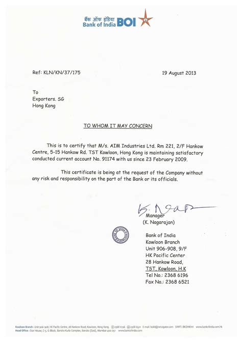 Letter Of Standing Bank Recommendation Letter For Financial Manager Cover Letter Templates