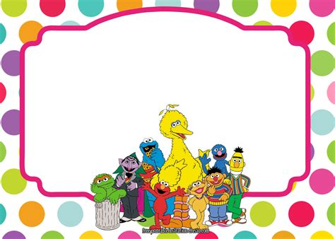 sesame birthday card template sesame all characters invitation template