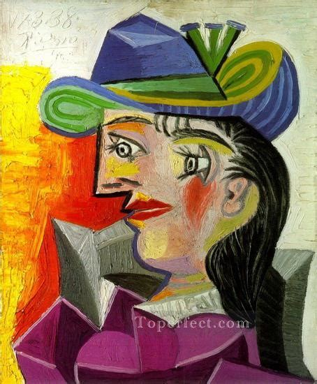 picasso paintings in order with a blue hat 1939 cubist painting in for sale