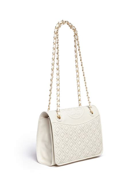 Burch Fleming Medium Quiled lyst burch fleming medium quilted leather bag in white