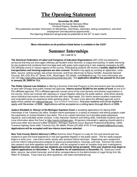 Resume Opening Statement Examples Opening Statement Example Clipartfest Example