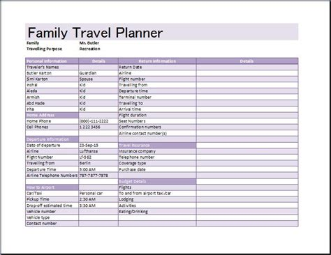 Vacation Itinerary Planner Template Business Itinerary Planner Template