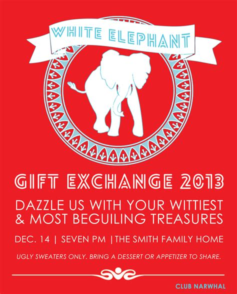 white elephant gift exchange free printable invitation