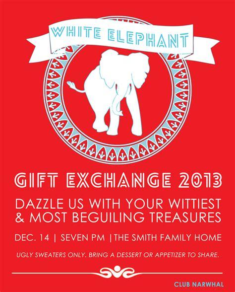 White Elephant Gift Exchange Free Printable Invitation Persia Lou White Elephant Invitations Templates