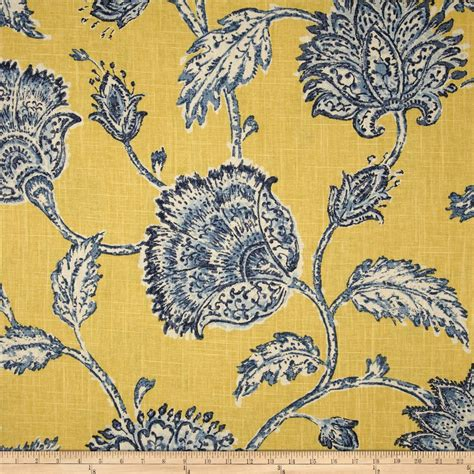blue and yellow curtain fabric duralee home agathe floral blue yellow discount designer