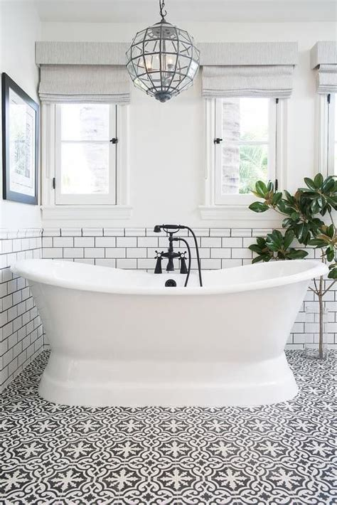 Black And White Bathroom Wall by White And Black Bathroom Features Top Half Of Walls