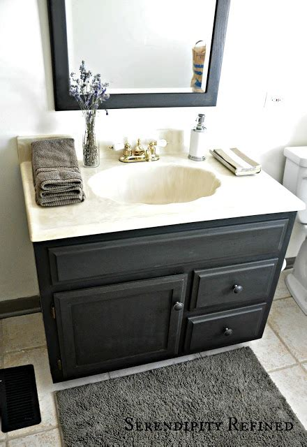 painting bathroom vanity black serendipity refined blog how to update oak and brass bathroom fixtures with spray
