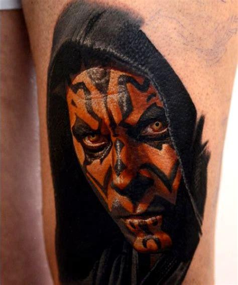 realistic coloured darth maul tattoo by nikko hurtado