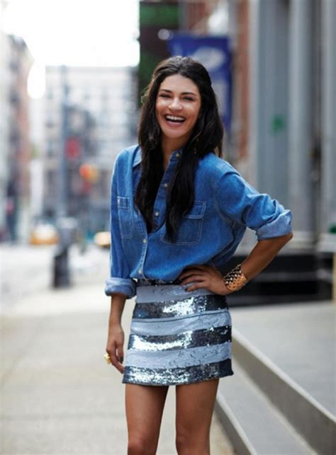 tucked into a sequin skirt 9 ways to style a denim shirt