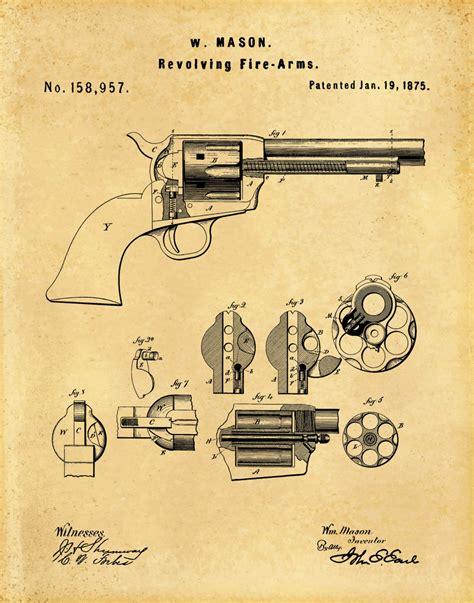1875 colt 45 patent print revolver peacemaker designed by