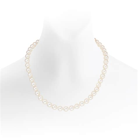 luxury white japanese akoya pearl necklace with 18ct gold