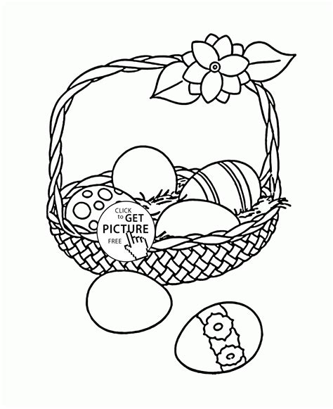 Basket Of Easter Eggs Coloring Page