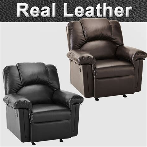 Real Leather Recliner Sofas Monaco Real Leather Recliner Armchair Sofa Home Lounge Chair Reclining Gaming Ebay