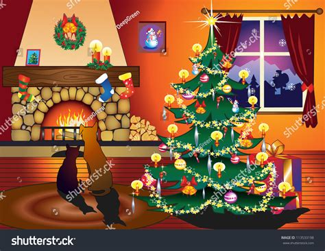 view card room santa cat sitting on front fireplace stock vector 113533198