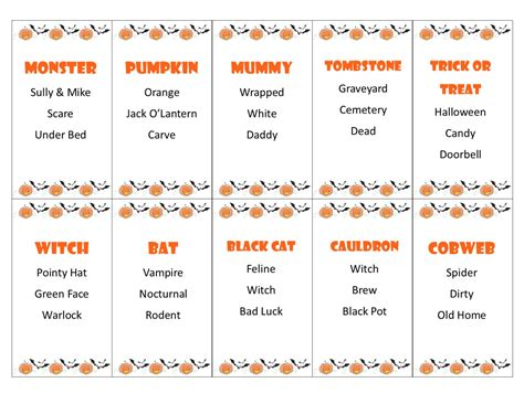 printable games for classroom printable halloween taboo game cards instant download for
