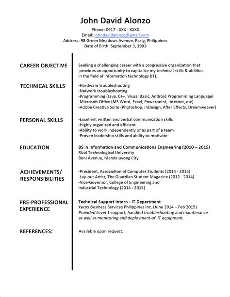 simple resume sles for fresh graduates sle resume format for fresh graduates one page format jobstreet philippines