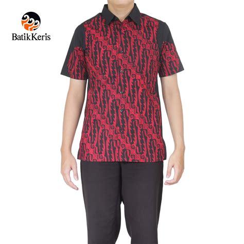 Kemeja Setrit Print 2 kemeja batik slimfit lengan pendek motif parang gondosuli kombinasi polos batik keris