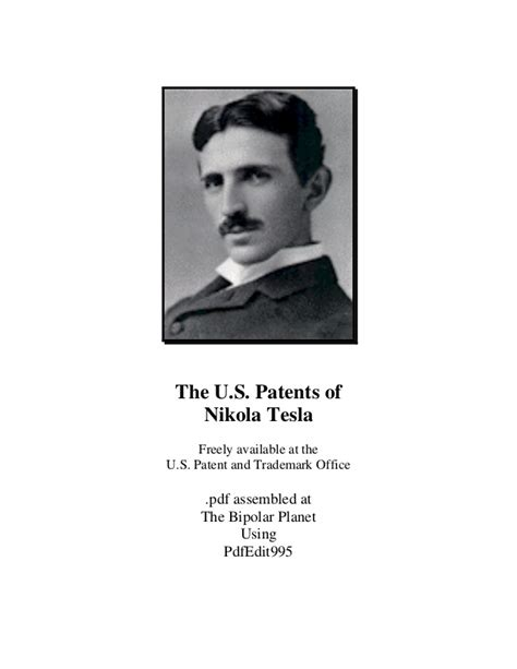 The Complete Patents Of Nikola Tesla Pdf Ebook Free Energy Complete Us Patents Of Nikola Tesla