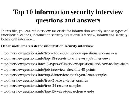 top 10 information security questions and answers