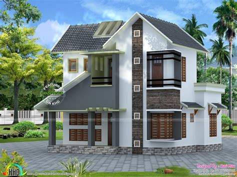 slope roof low cost home design kerala and floor plans