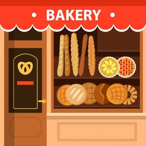 Bakery Store by Bakery Store Facade Design With Bread Display Vectors