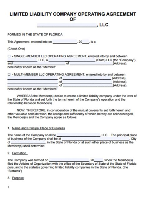 Free Florida Llc Operating Agreement Template Pdf Word Limited Liability Company Operating Agreement Template Free